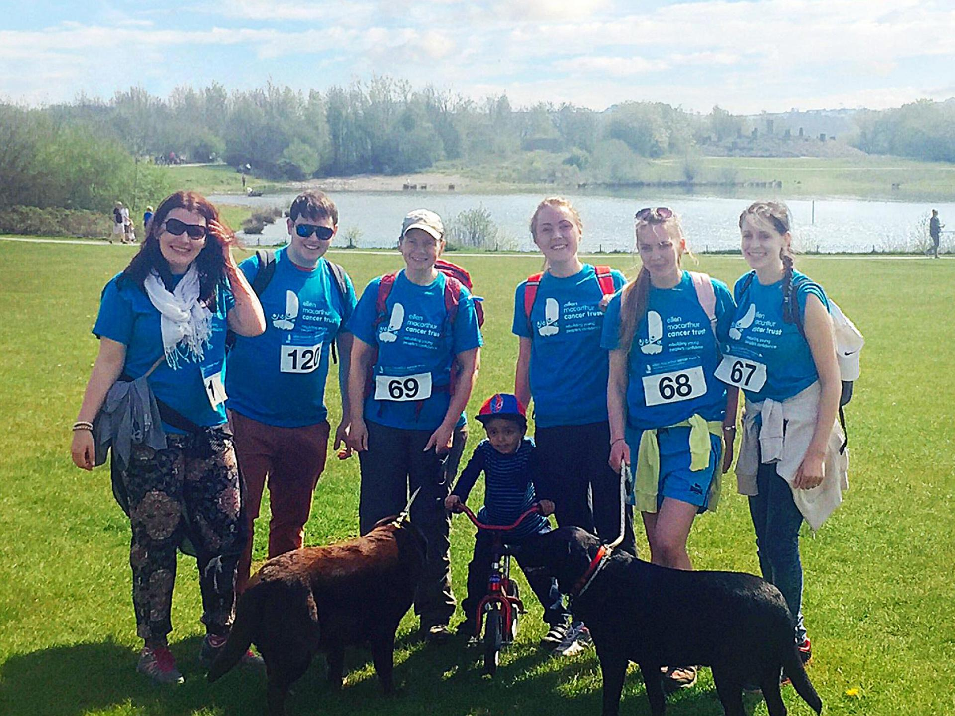 The Contours Charity Team gathered in blue t-shirts for the Great British Dog Walk
